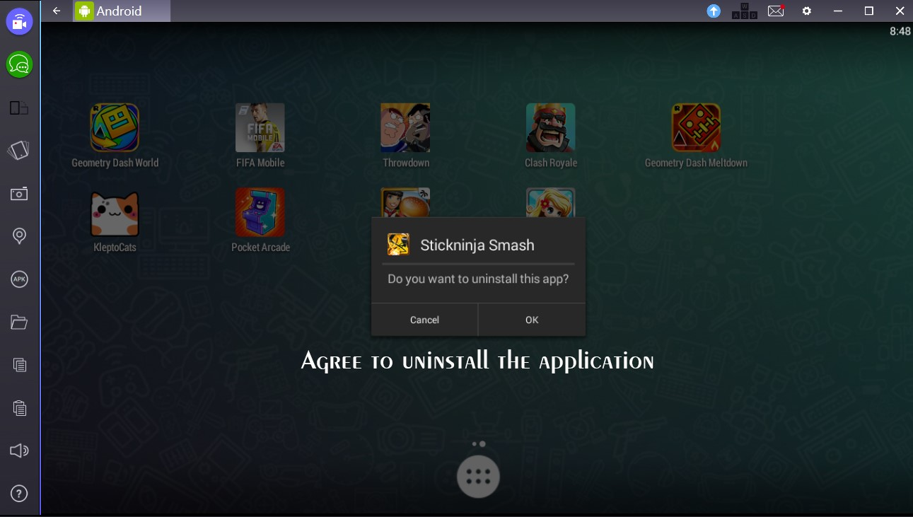 Unistalling Apps From Bluestacks