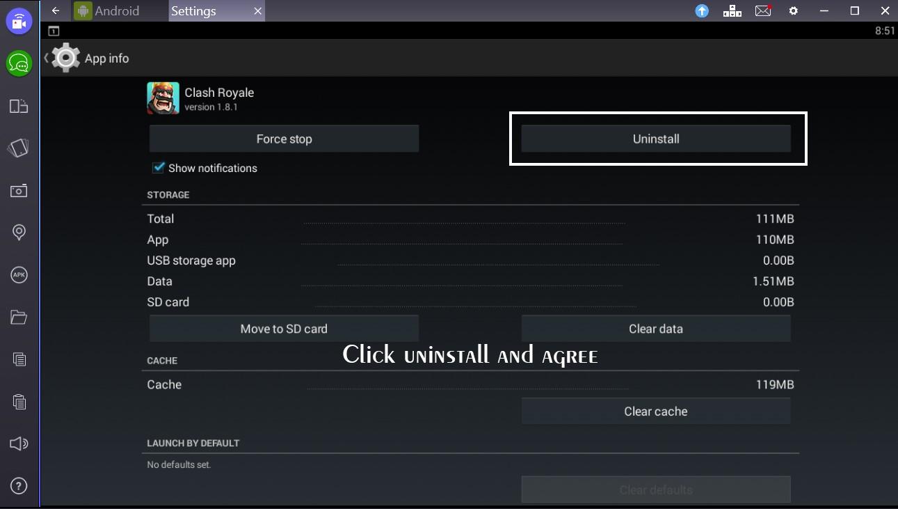 Unistalling Apps From Bluestacks